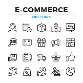 E-commerce line icons set. Ecommerce, online shopping. Modern outline elements, graphic design concepts. Stroke, linear style. Simple symbols collection. Vector line icons