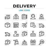 Delivery line icons set. Logistics, transportation. Modern outline elements, graphic design concepts. Stroke, linear style. Simple symbols collection. Vector line icons