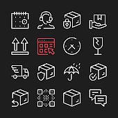 Logistics line icons. Modern graphic elements, minimal simple outline stroke thin line design symbols. Vector icons set