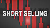Short selling or shorting title graphic 3D for stock market