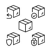 Boxes line icons set. Cardboard boxes, parcels, packages outline symbols. Delivery, shipping, transportation concepts. Stroke, linear style. Modern graphic design elements collection. Vector line icons