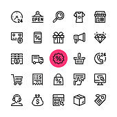 E-commerce, online shopping, ecommerce line icons set. Modern graphic design concepts, simple outline elements collection. 32x32 px. Pixel perfect. Vector line icons