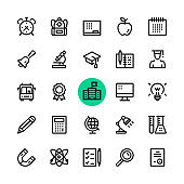 Education line icons set. Modern graphic design concepts, simple outline elements collection. 32x32 px. Pixel perfect. Vector line icons
