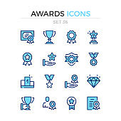 Awards icons. Vector line icons set. Premium quality. Simple thin line design. Stroke, linear style. Modern outline symbols, pictograms.
