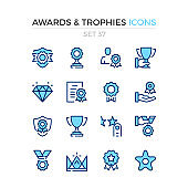 Awards and trophies icons. Vector line icons set. Premium quality. Simple thin line design. Stroke, linear style. Modern outline symbols, pictograms.