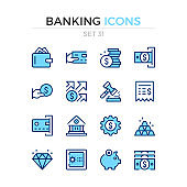 Banking icons. Vector line icons set. Premium quality. Simple thin line design. Stroke, linear style. Modern outline symbols, pictograms.