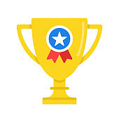 Trophy with award ribbon. Gold cup with medal. Flat design. Vector icon