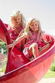 children playing in slide