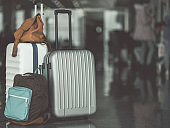 Luggage and bag locating on floor
