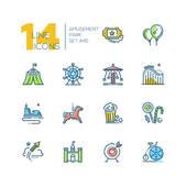 Amusement park - set of line design style colorful icons