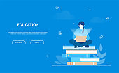 Education - flat design style colorful web banner