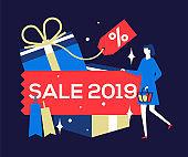Big Sale 2019 - flat design style colorful illustration