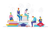 Business process - flat design style colorful illustration