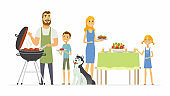 Happy family at the barbecue - modern cartoon people characters illustration