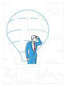 Businessman in a balloon - line design style illustration