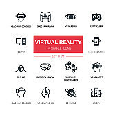 Virtual reality - line design silhouette icons set