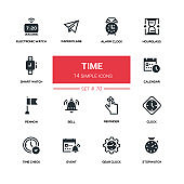 Time concept - line design silhouette icons set