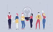 Bright idea - flat design style colorful illustration
