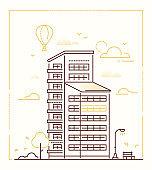 City building - line design style vector illustration