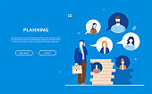 Planning - flat design style colorful web banner