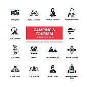 Camping and tourism - line design silhouette icons set
