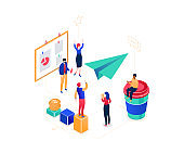 Startup company - modern colorful isometric vector illustration