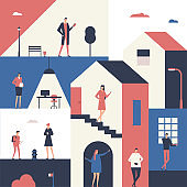 People with gadgets - flat design style illustration