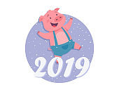 Happy New Year 2019 - modern cartoon character illustration