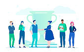 Business victory - flat design style illustration