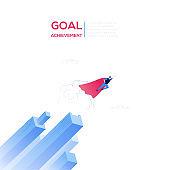 Goal achievement - modern isometric vector web banner