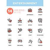 Entertainment - line design icons set