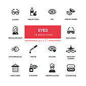 Eyes - line design silhouette icons set