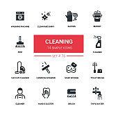 Cleaning - line design silhouette icons set