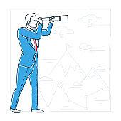 Future planning - line design style isolated illustration