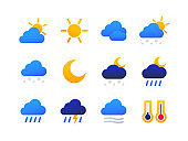 Weather types symbols - set of flat design style icons