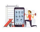 Fitness app - modern vector cartoon character illustration