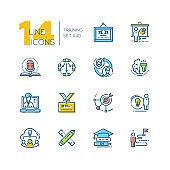 Training - set of line design style icons