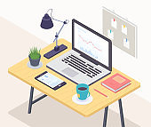 Office workplace - modern vector colorful isometric illustration