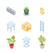Workplace elements - modern vector colorful isometric objects