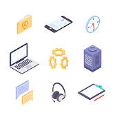 Business and technology - modern vector colorful isometric elements