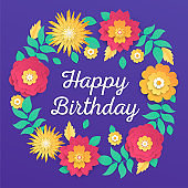 Happy birthday - modern vector colorful illustration