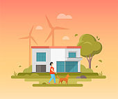 Landscape with windmills - modern flat design style vector illustration