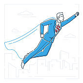 Businessman with a super power - line design style isolated illustration