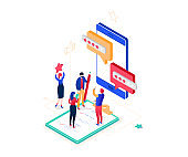 Company testimonials - modern colorful isometric vector illustration