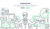 Finance app - colorful line design style vector illustration