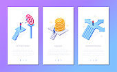 Business and finance - set of isometric vector vertical web banners