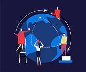 International business - flat design style colorful illustration