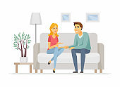 Young family talking - cartoon people characters illustration