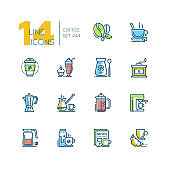 Coffee set - line design style colorful icons