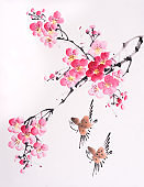 Traditional chinese painting Spring plum blossom and birds